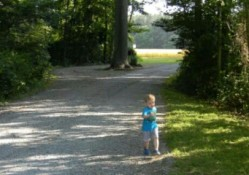 My boy taking a walk, or running away!