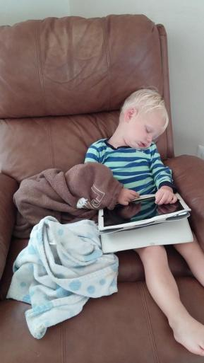 The iPad always puts him to sleep.