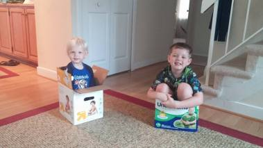 Boys in boxes.