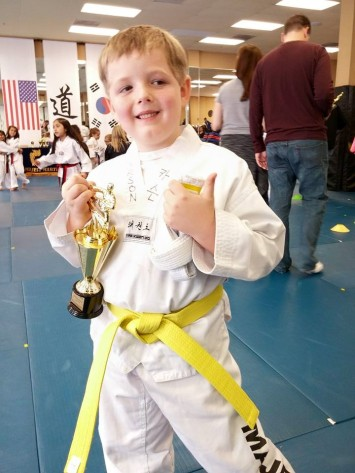Got his yellow belt!