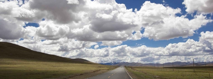 road landscape sky clouds
