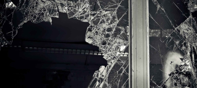 black and white broken dark glass